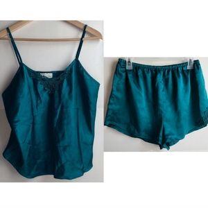 VINTAGE Green Lingerie PJ Pajama Set Shorts Tank